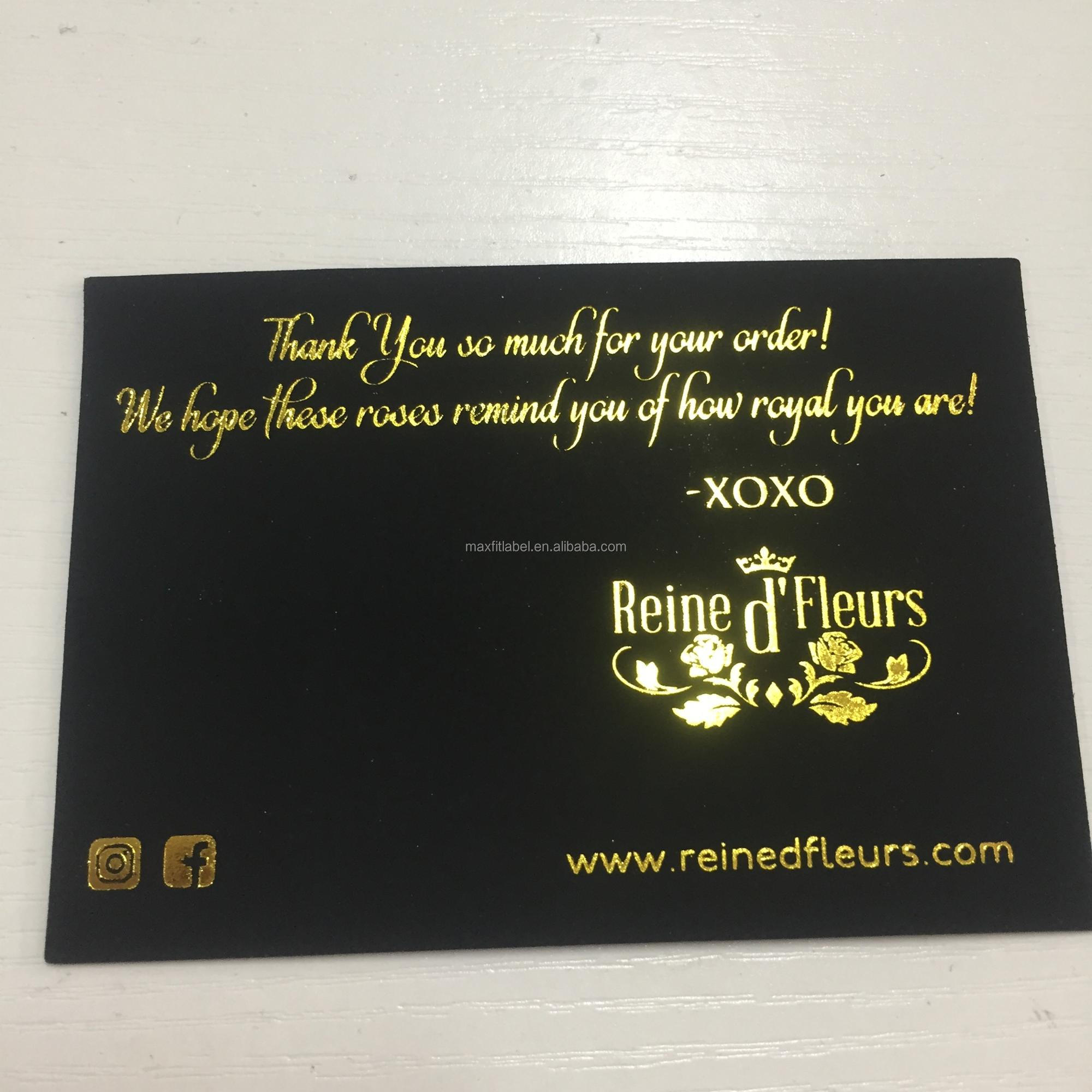 Custom high quality thick and sturdy card black hard suede business card bronzing silver