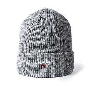 f2892541dfd High quality cuffed Grey ribbed embroidery beanie hat for women