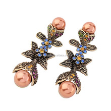 Rhinestone beads pave alloy flower shaped vintage pearl beads earrings for women wholesale