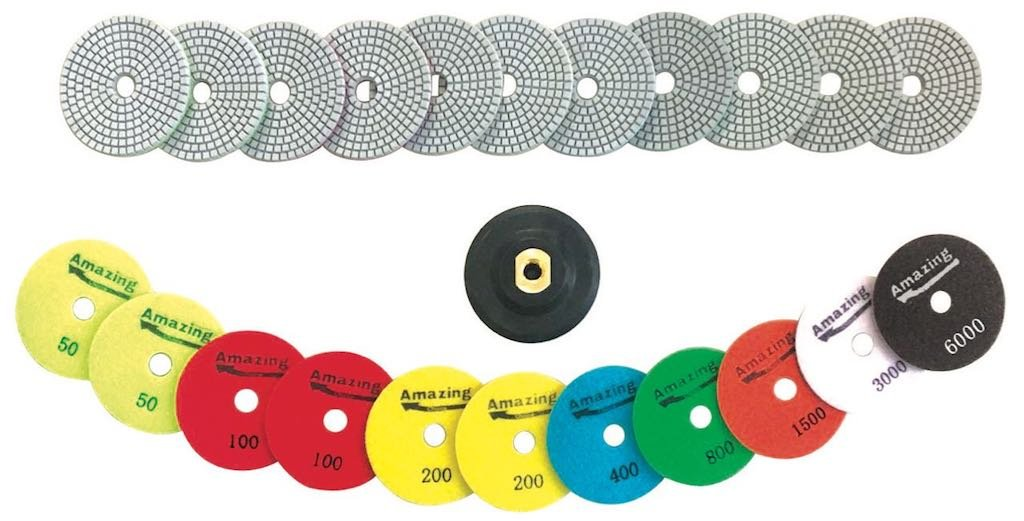 "Diamond Polishing Pads 4"" inch Wet & Dry 13 Piece Set w/Rubber Backer. (Grit 10,000/6,000/3,000/1,500/800/ 400/ x2 200/ x2 100 and x2 50 Grits) Amazing Value for use on Granite, Concrete & Marble"