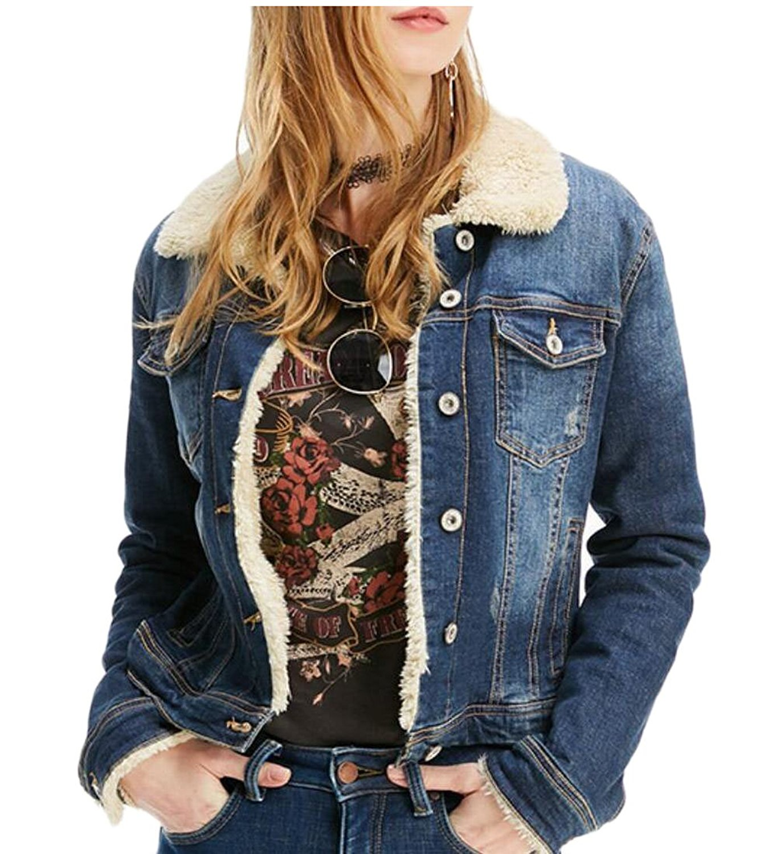 d0c9ae700e4 Get Quotations · Jaycargogo Women  Thicken Lambs Wool Denim Jacket Loose  Jean Coat