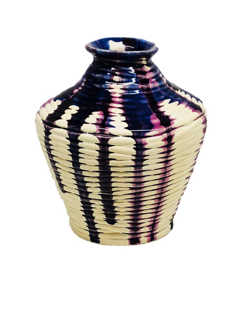 Purple, Blue and Violet Runs on White Glazed Handmade Ceramic Coil Vase