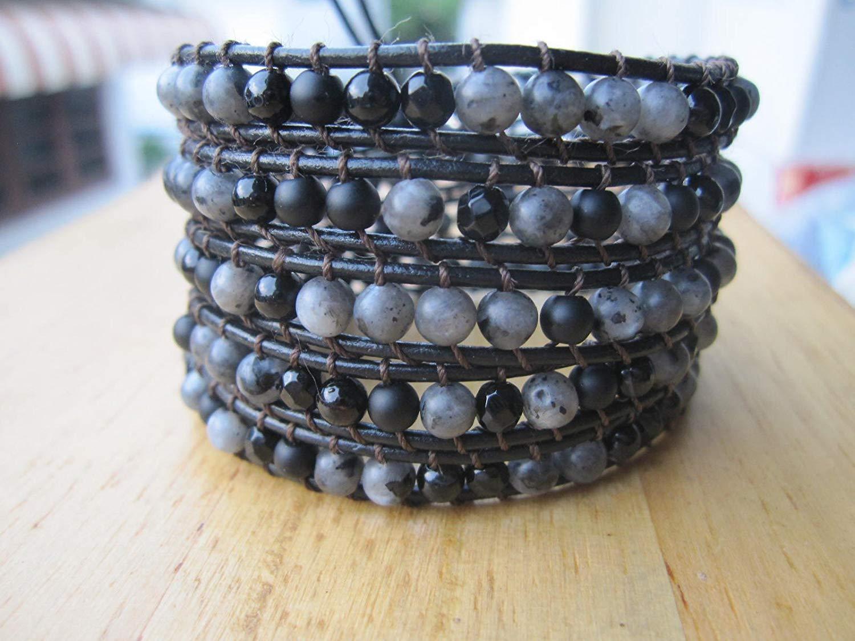 Agate,Black onyx,Labradorite 5 Wrap Leather Bracelet, Beaded Bracelets,Womens Boho Jewelry,Bohemian wrap, Unisex bracelet - 34-36 inches