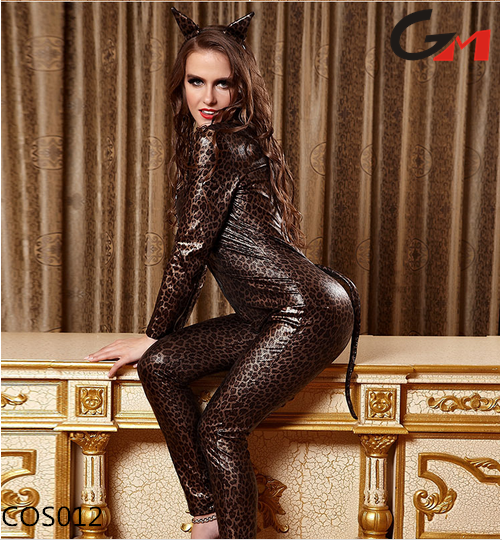 Adult Ladies Sexy leopard Black shiny Cat Women Costume for pole dancing with tail and cat ears