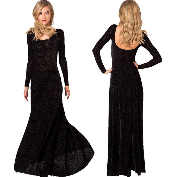 537a5c92270 2015 Winter Dresses Elegant Long Sleeve Prom Dresses Burned Velvet Dress  Evening Long Maxi Dress Ball