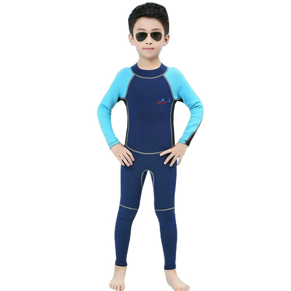 4189423592723 Get Quotations · Kids Girls Boys 2.0mm Neoprene Wetsuit Long Sleeve Swimsuit  One Piece UV Protection Thermal Wetsuit