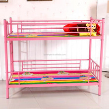 pink color queen size bunk bed for kids school furniture