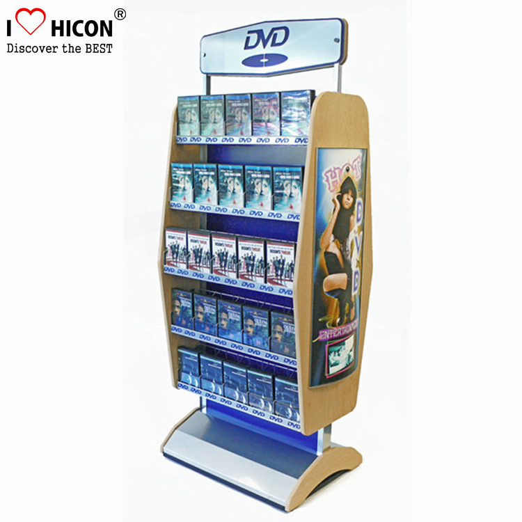Free Design Audio Products Retail Store Double Sided Floor Display 5-Tier Iron Metal CD DVD Rack