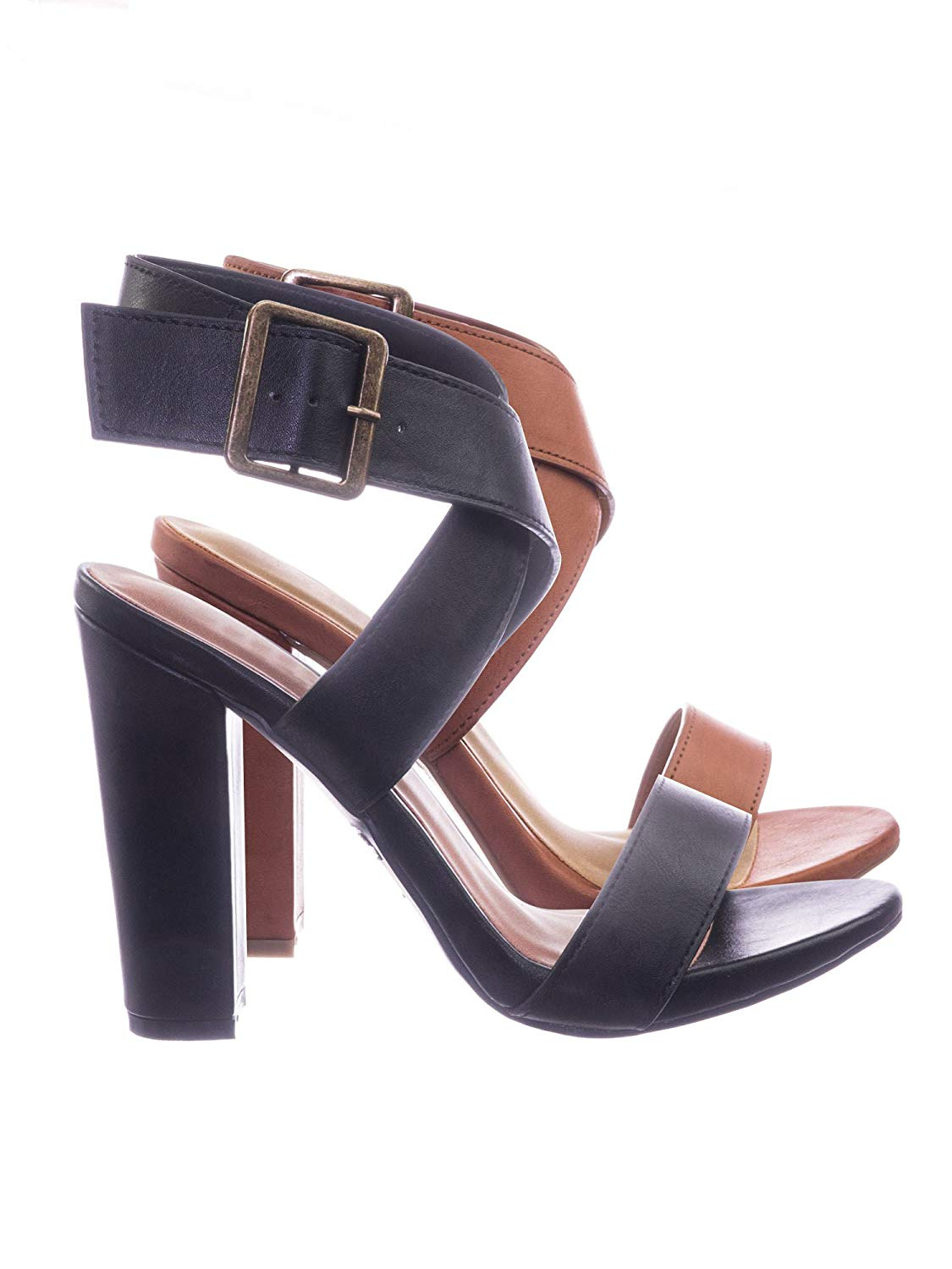 0a07c347205 Get Quotations · Aquapillar Retro Block Heel Wraparound Ankle Strap Open  Toe Sandal
