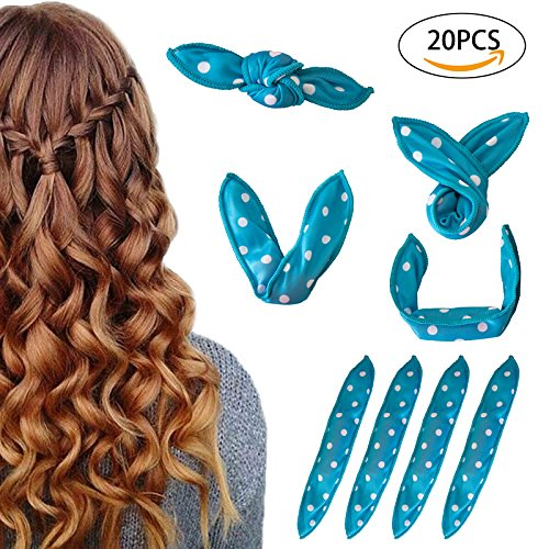 Curlers, Hair Rollers Amaeutty 20 Packs Hair Curlers and Flexi Rods for Long, Short, Thick & Thin Hair, No Heat Curlers for Women & Girls - Blue