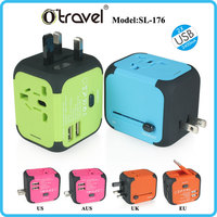 All in One Universal International Plug Adapter 2 USB Port World Travel AC Power Charger Adaptor with AU US UK EU Plug