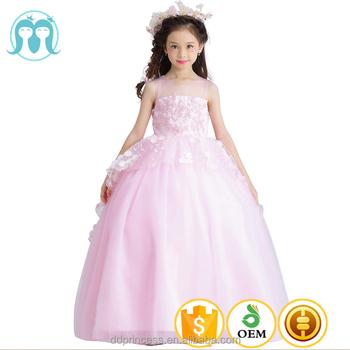 2017 New Kids Long Design Wedding Dresses Western Pink Flower Girls
