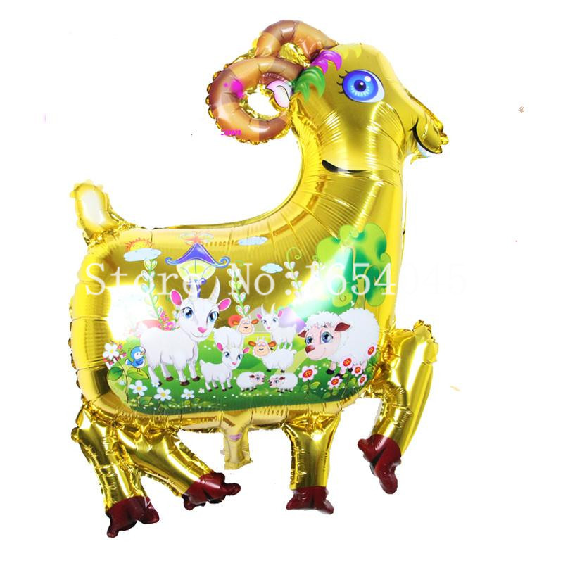 New arrival 10pcs /lot metallic golden goat foil balloon for animal pet Festival decoration sheep balloon baloes inflatable toy
