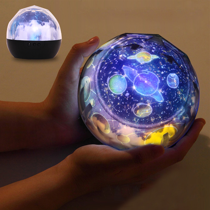 2018 Magic Universe Projection Lamp Romantic 3D Starry Sky Star Rotating LED Projector Night Light Table Lamp for Children Room