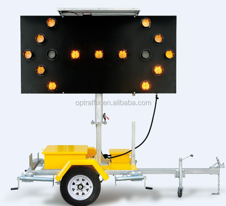 OPTRAFFIC Road Safety Solar Power Yellow Light Board Traffic Signal Led Flashing Arrow Sign