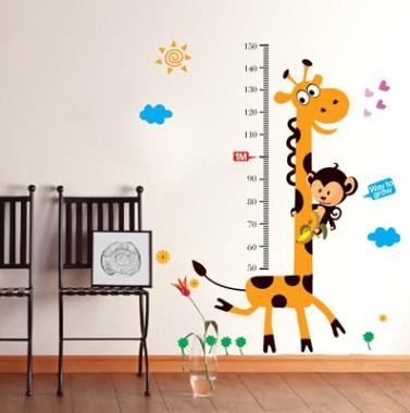 jirafa altura mensaje de dibujos animados para nios sala de pared adhesivos decorativos pegatinas pegatinas
