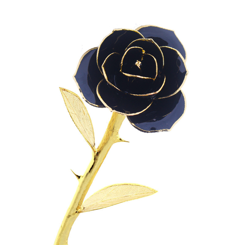 Daya Real Rose Dipped In 24k Gold Forever Preserved Long Stem With Golden Leaves