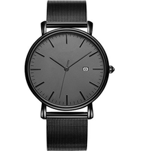 All black quartz flat dial cheap stainless steel watches