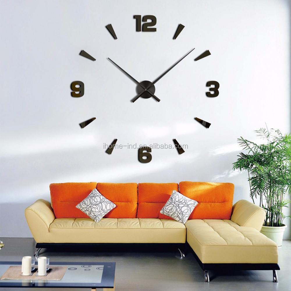 plata rondas crculos reloj de pared del espejo del diseo moderno extrable diy acrlico