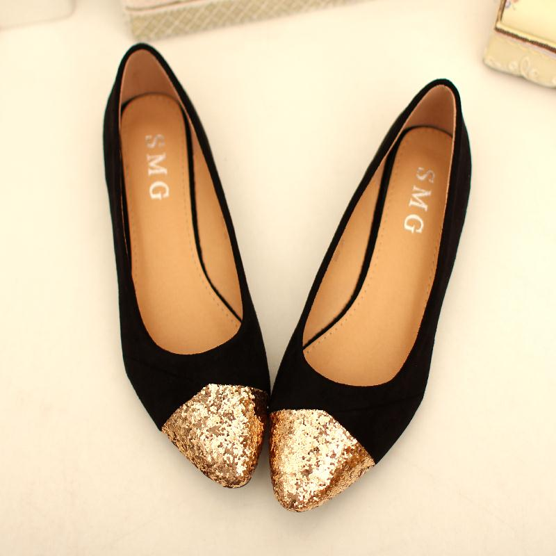 Get Quotations · Sequins Mixed Colors Womens Flat Shoes 2015 New Arrival  Suede Ballet Flats Women Gold Glitter Pointed 577648f4d87d