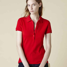 Commercio all'ingrosso Red Slim Fit <span class=keywords><strong>Donna</strong></span> Polo T-<span class=keywords><strong>Shirt</strong></span> In Cotone Donne Camicia di Polo Delle Ragazze di Alta Qualità Custom Classic