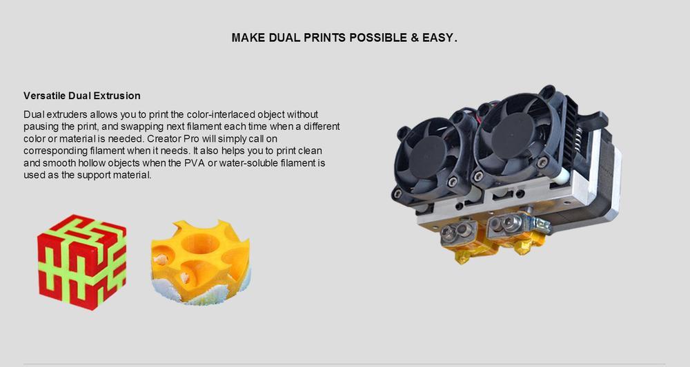 3d printer replicator black metal flashforge creator pro 2 extruders 2  color sd card & usb 2 filament for free