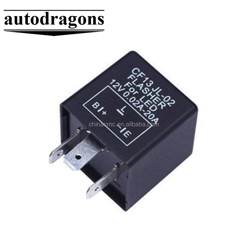 Relais de Clignotant Electronique /à LED 3 Broches Relais de Signal Lampe de Clignotant /à Indicateur 12V CF13-JL02 Flasher Relais de Lumi/ère de la Voiture R/églable