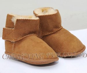 CX-SHOES-06B Genuine Sheared Sheep Skin Leather Infant Shoes