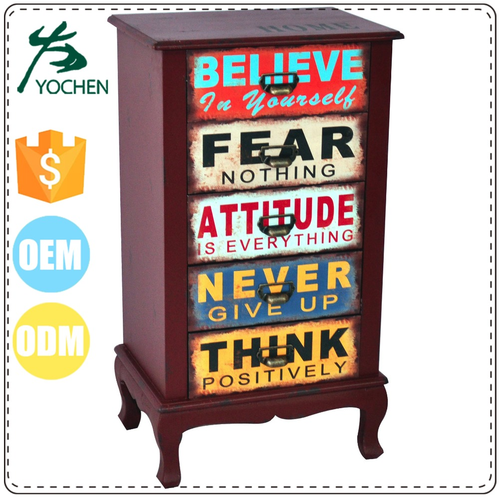 eco friendly materials antique curio cabinet with colorful drawers