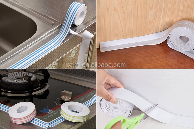 Kitchen bathroom wall pvc sealing self adhesive tape caulk for Caulking around kitchen cabinets