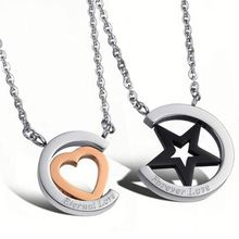 GX731 Eternal Love 316L Stainless Steel Engraved Star and Heart Shaped Necklace