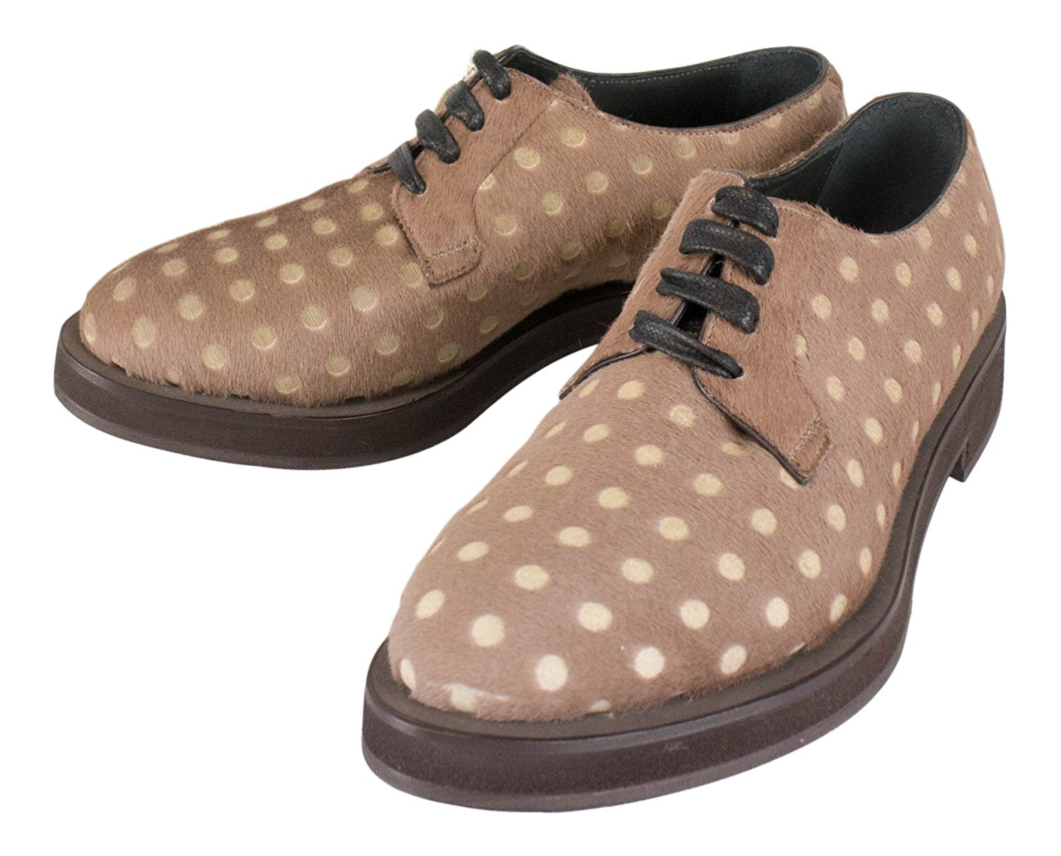 c0adf8b7e85b37 Get Quotations · Brunello Cucinelli Brown Polka Dot Pony Fur Oxford Shoes  Size 37.5 7.5