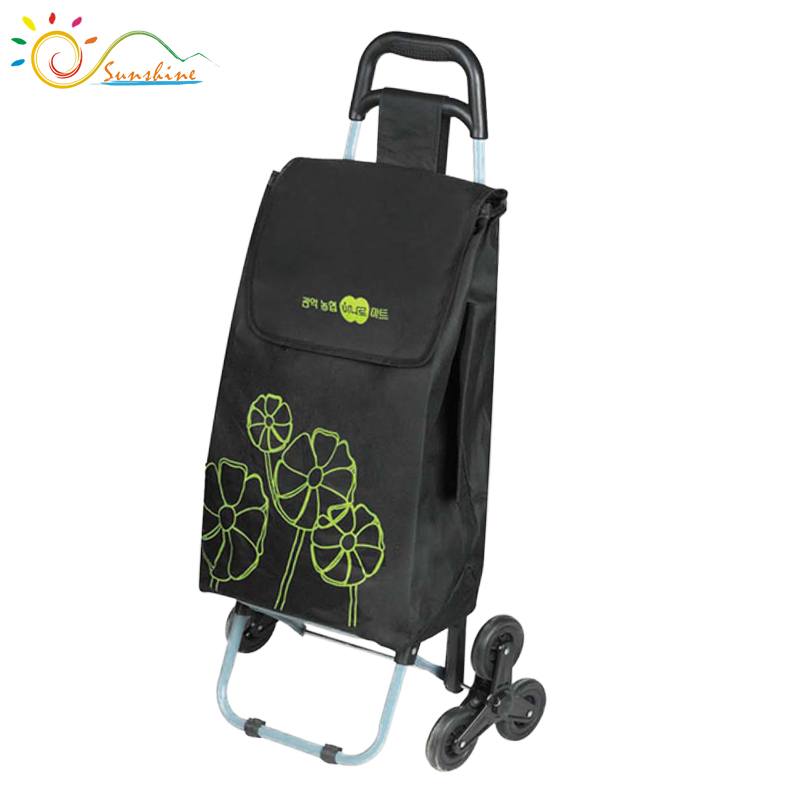 Foldable Hand Luggage Cart 3 wheels foldable shopping trolley