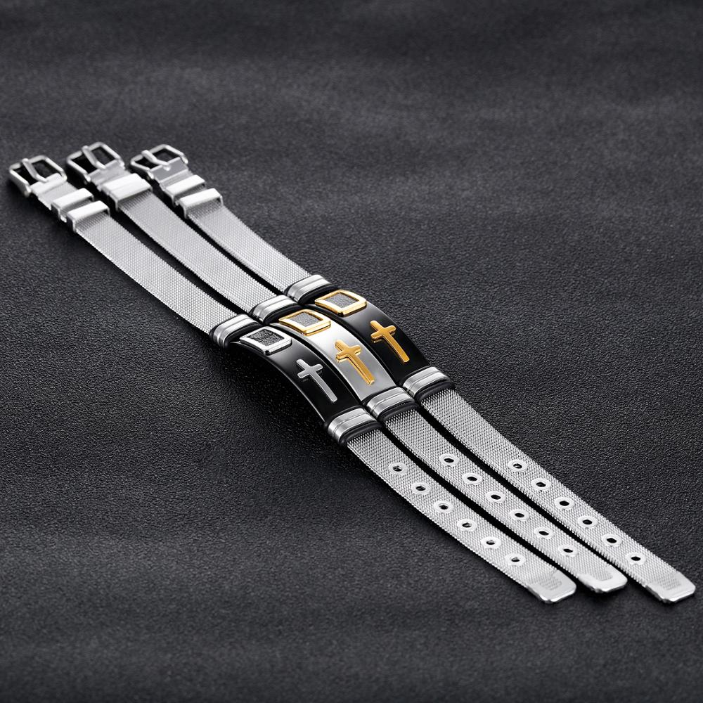 Custom Men Jewelry Mesh Watch Band Silver Cross Bangle Bracelet