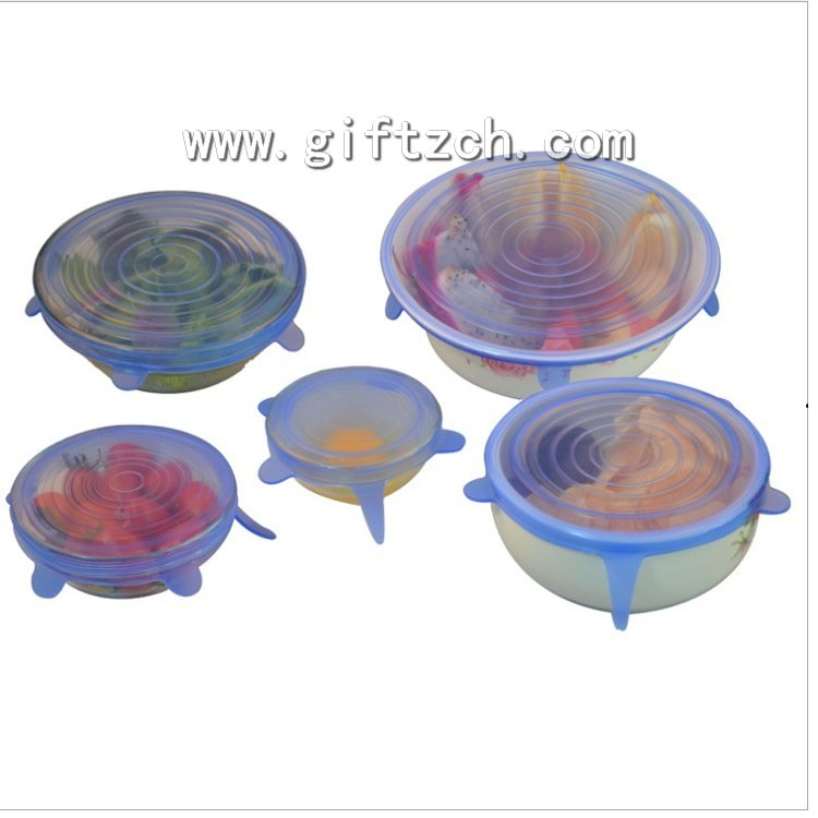 6pcs set silicone food storage box cover,silicone vacuum fresh box lid