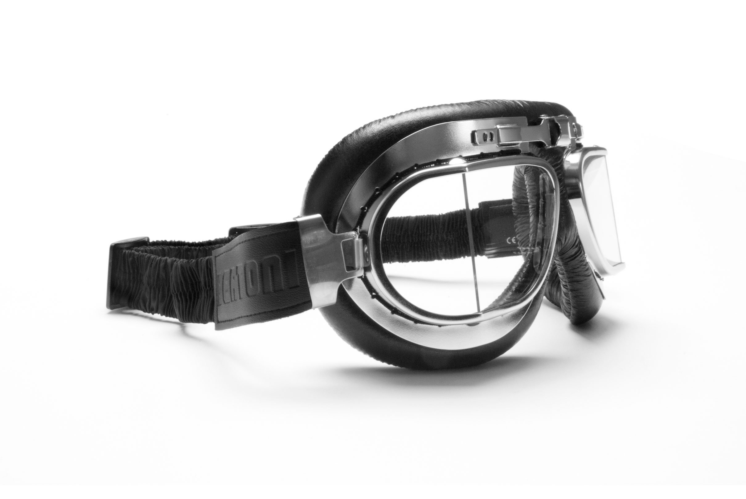 c96fca88c1ef Vintage Motorcycle Goggles with Antifog and Anticrash Squared Lenses -  Chromed Steel Frame - by Bertoni