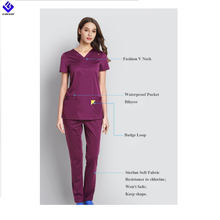 Piena Elastico Coulisse <span class=keywords><strong>Medico</strong></span> Vestiti Pronti Set Delle Donne Degli Uomini di <span class=keywords><strong>Top</strong></span> & Pant In Viola