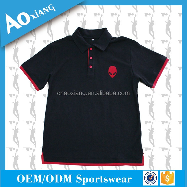 Cotton spandex sports black embroidery logo polo t shirt wholesale