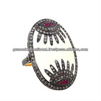 Pave Diamond Ruby Enamel Ring 925 Silver Gold Ring Jewelry Supplier