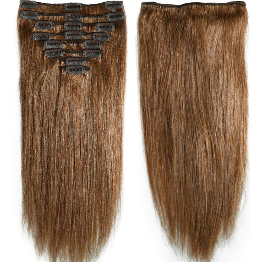 """S-noilite® 70g-120g 10"""" 13"""" 16"""" 18"""" 20"""" 22"""" 24 Inch Standard Weft Full Head Set Clip on 100% Remy Human Hair Extensions Grade 5A For Beauty 8 Pieces 18 Clips(#6 Light Brown 10 Inch 70g)"""