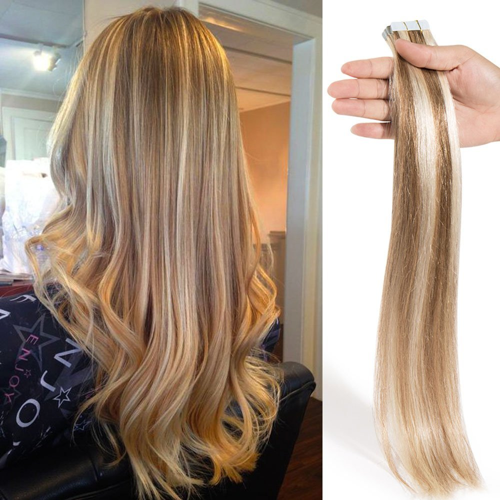 """16"""" 18"""" 20"""" 22"""" Top Quality Seamless Double Side Tape Skin Weft 100% Real Remy Human Hair Tape in Extensions 40pcs 100g (22"""", #12/613 Golden Brown/Bleach Blonde)"""