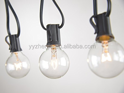 ZHENJIA (UL/CUL) G40 Globe String Lights with Clear Bulbs for Indoor/Outdoor Commercial Decor