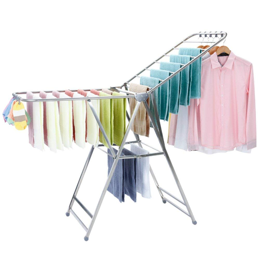 SKKGN Stainless steel drying Rack, Floor Foldable Airfoil Clothes Rack Indoor and outdoor Laundry Drying quilt Rack-silver
