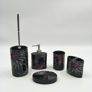 5 Piece Decal Fireworks Design Glossy Black Resin bath accessories Bathroom Accessory Set