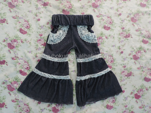 Wholesale Adorable denim lace Baby loose Long pants