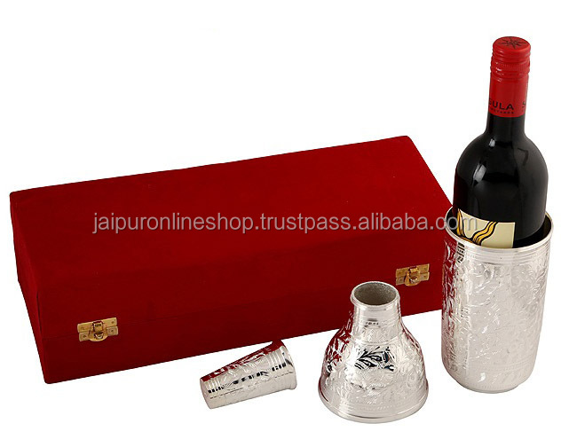 Unique Christmas Gift Wine Bottle Holder,Silver Plated Brass Wine ...