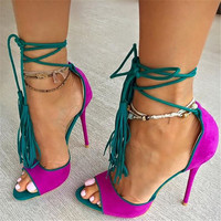 custom large size faux suede peep toe high-heeled lace up tassel sandals shoes ladies