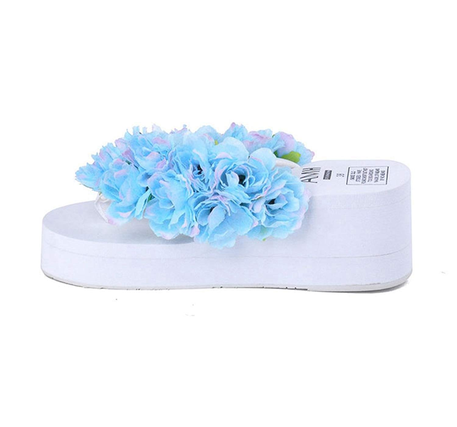 a95321f498f Get Quotations · Womens Flip Flop Thongs Wedge Platform Mid Heel Sweet  Flowers Slippers for Wedding Bride Girls Beach