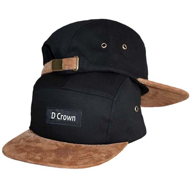 17bbdddf99290 Promotional yupoong five panel cap leather strap custom blank 5 panel hat