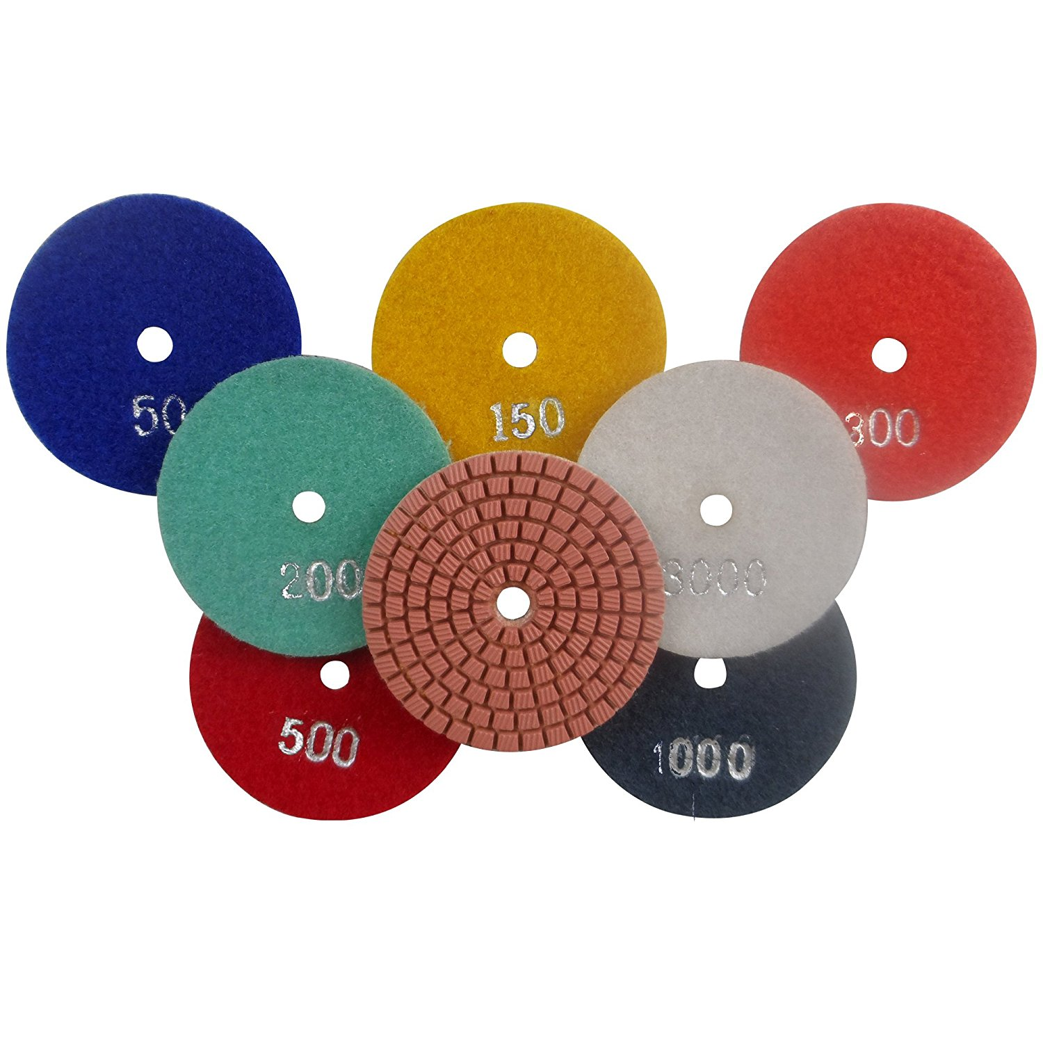 "Konfor 4"" Diamond Wet Polishing Pads for Sanding Marble Granite Stone Pack of 7 Grit 50 to 3000"